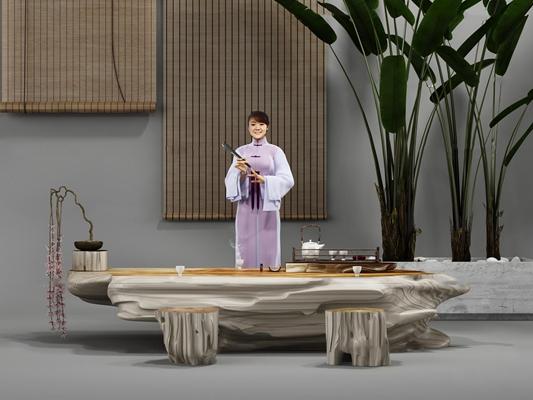 新中式树根茶几摆件3d模型【ID:97198269】