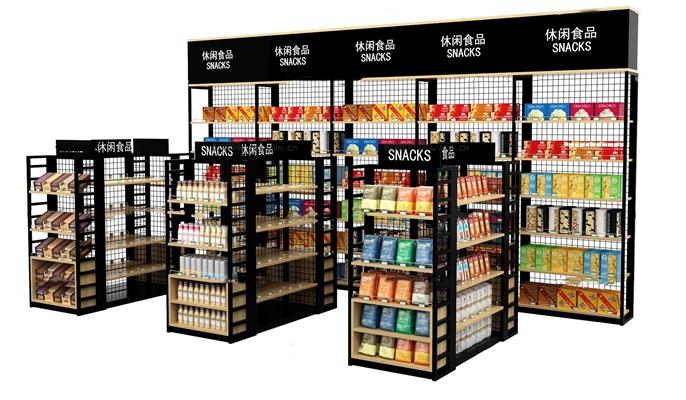 现代休闲零食超市货架组合3D模型【ID:97198526】