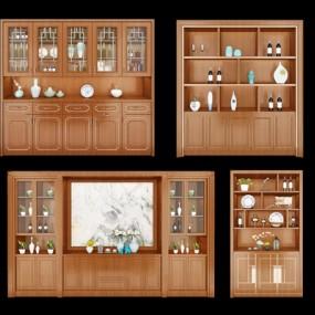 新中式酒柜组合3D模型【ID:97198702】
