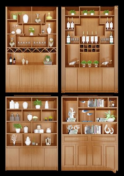 中式实木酒柜装饰柜组合3D模型【ID:97198905】