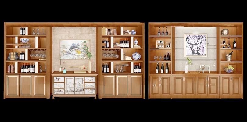 中式实木酒柜组合3D模型【ID:97199202】