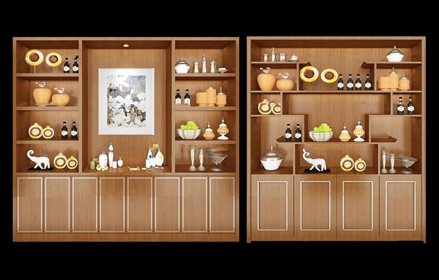 中式实木酒柜组合3D模型【ID:97199204】