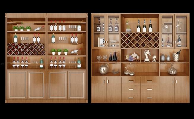 中式实木酒柜组合3D模型【ID:97199206】