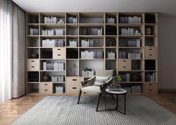 现代书架置物架单椅组合3d模型【ID:97199354】