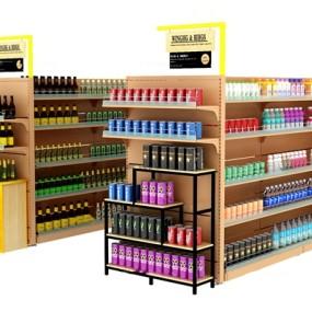 现代酒水超市货架3D模型【ID:97199523】