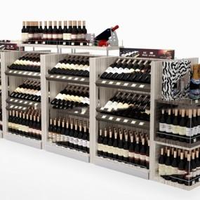 现代超市红酒货架3D模型【ID:97199620】