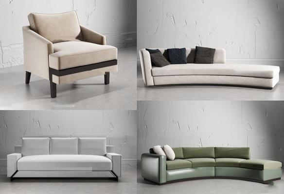 现代弧形沙发组合3d模型【ID:97200696】