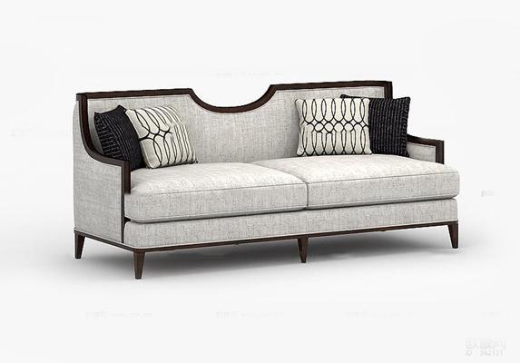 新中式布艺双人沙发3D模型【ID:97200977】