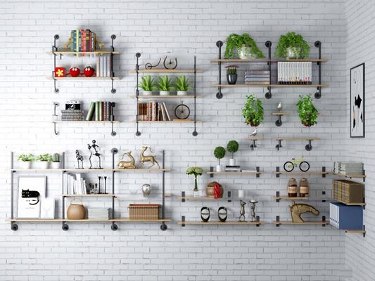 工业风水管装饰架盆栽组合3D模型【ID:97201321】