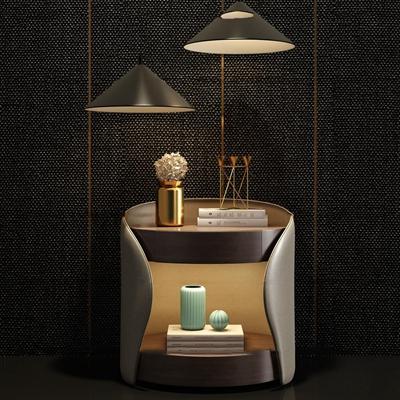 现代皮革床头柜吊灯饰品组合3d模型【ID:97201662】