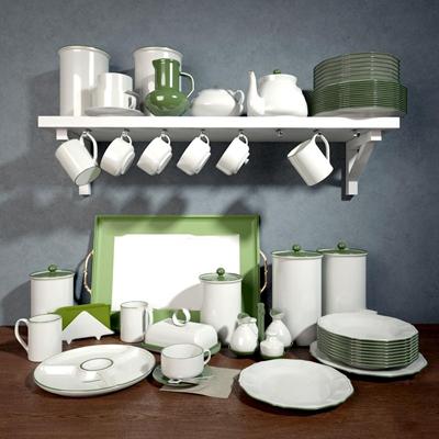 现代陶瓷餐具组合3D模型【ID:97202134】