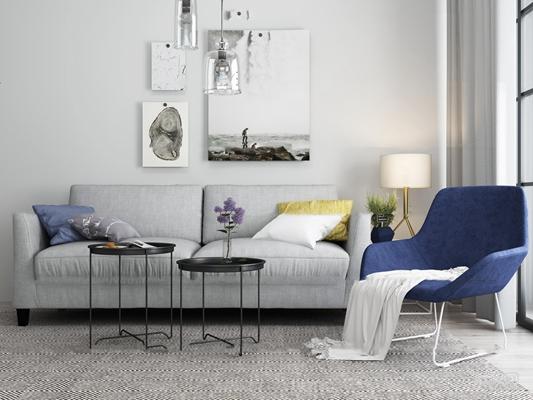 北欧双人沙发茶几单椅组合3D模型【ID:97203377】