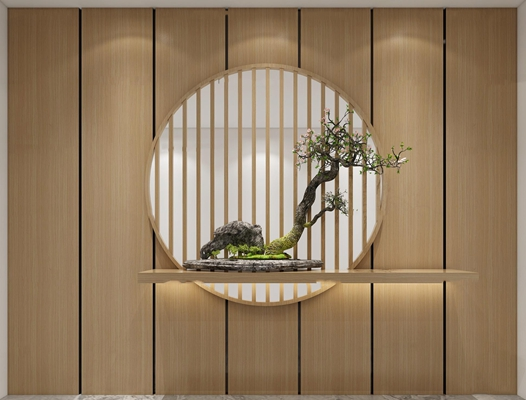 新中式玄关植物摆件3d模型【ID:97204317】