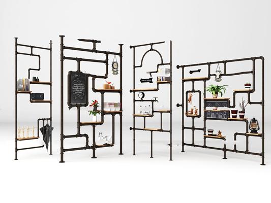 工业风水管装饰架盆栽组合3D模型【ID:97204320】