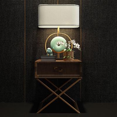 现代实木床头柜台灯组合3d模型【ID:97204465】