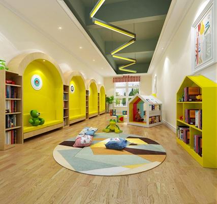 现代幼儿园阅读室3d模型【id:97204530】