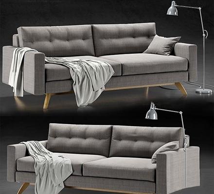 现代布艺双人沙发落地灯组合3D模型【ID:97204771】