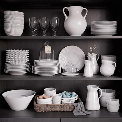 现代储物柜碗碟摆件组合3d模型【ID:97205034】
