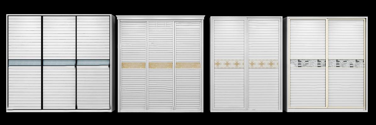 现代推拉门衣柜组合3D模型【ID:97205992】