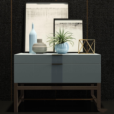 现代床头柜陶器摆件组合3D模型【ID:97206269】