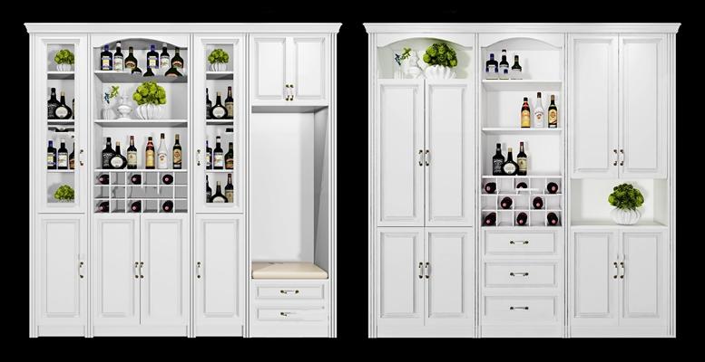 欧式白色酒柜酒水组合3d模型【ID:97206700】