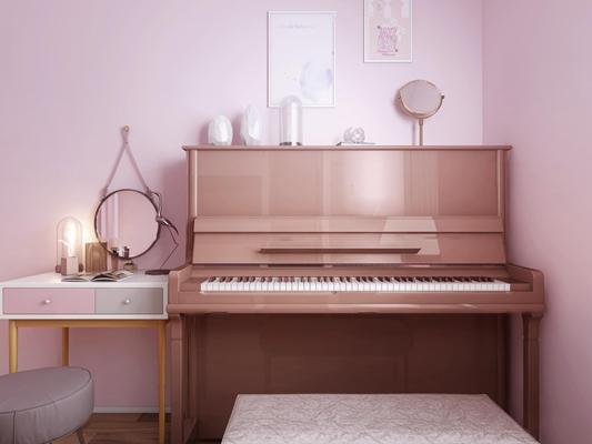现代钢琴梳妆台组合3D模型【ID:97206709】