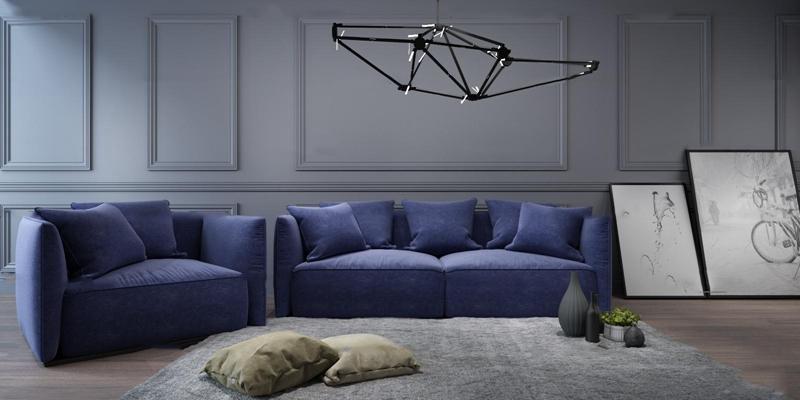 北欧布艺多人沙发装饰画吊灯组合3D模型【ID:97207599】