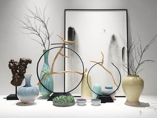 新中式陶瓷花瓶摆件组合3D模型【ID:97207614】