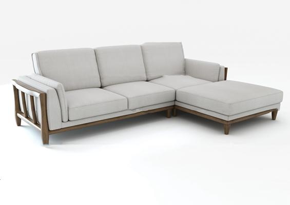 北欧布艺转角多人沙发3D模型【ID:97208092】