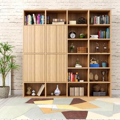 北欧实木书柜书籍摆件组合3D模型【ID:97208256】
