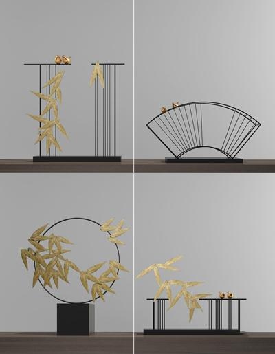 新中式金叶摆件组合3D模型【ID:97208913】