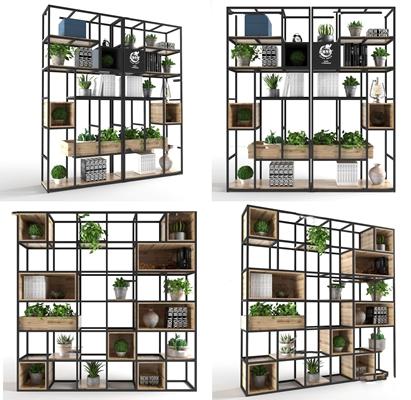 工业风装饰架盆栽组合3D模型【ID:97209921】