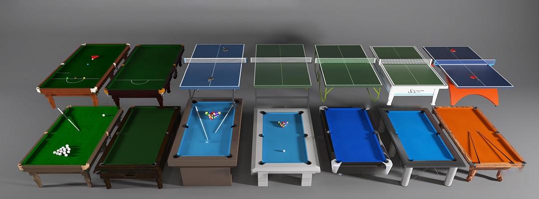 现代台球台乒乓球桌组合3d模型