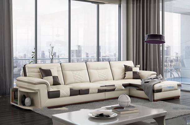 现代皮革多人沙发茶几组合3d模型【ID:97210498】