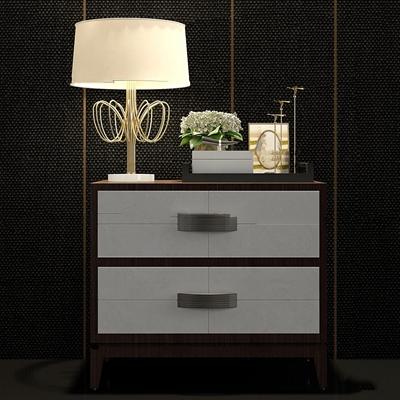 现代实木床头柜饰品组合3d模型【ID:97210668】