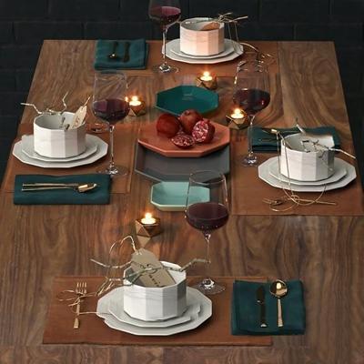 现代陶瓷餐具石榴组合3D模型【ID:97211035】