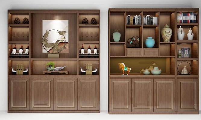 新中式酒柜装饰柜组合3d模型【ID:97211900】