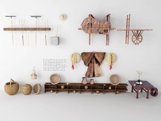 现代蓑衣斗笠鱼篓锄头工具组合3D模型【ID:97215014】