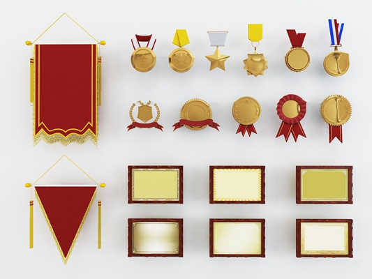 現代錦旗金牌獎牌獎狀組合3D模型【ID:97215268】