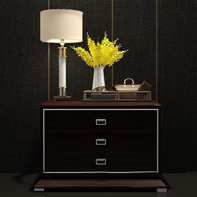 现代实木床头柜台灯花艺眼镜组合3D模型【ID:97215469】