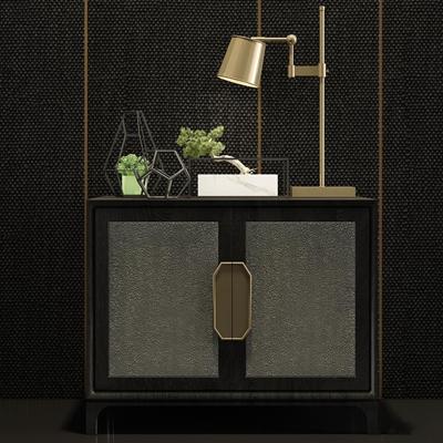 新中式实木床头柜盆栽台灯组合3D模型【ID:97215763】