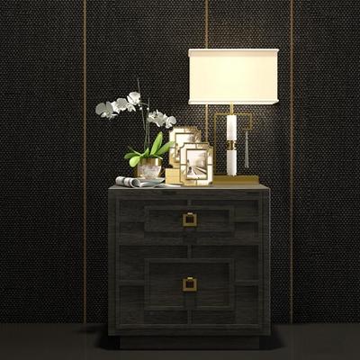 新中式实木床头柜台灯相框花饰品组合3D模型【ID:97215868】
