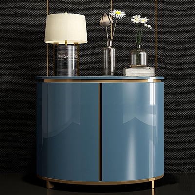 现代蓝色床头柜台灯组合3d模型【ID:97216765】