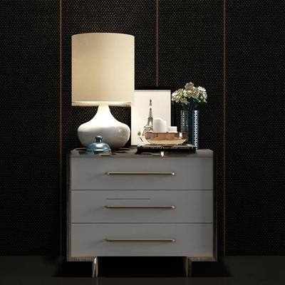 现代床头柜台灯花瓶组合3D模型【ID:97217262】