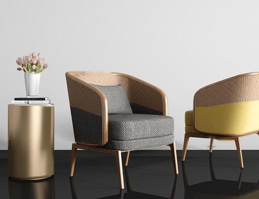 现代布艺单人沙发圆几组合3d模型【ID:97218368】