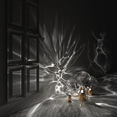 现代金属玻璃装饰灯组合3d模型【ID:97219280】