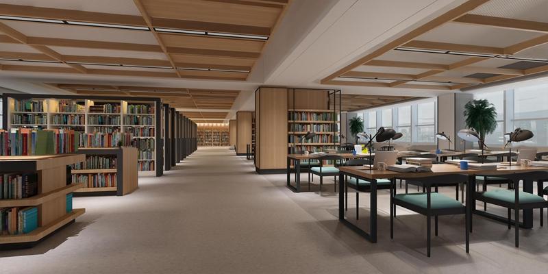 现代图书馆阅览室3D模型【ID:97219433】