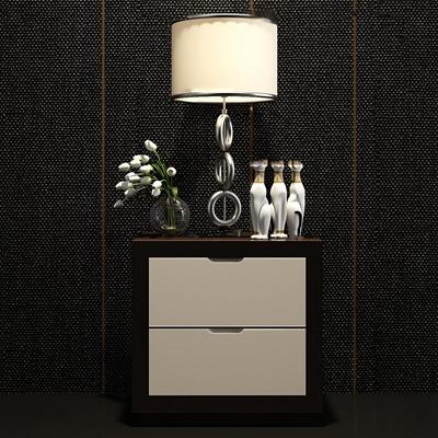 现代床头柜台灯组合3D模型【ID:97221468】