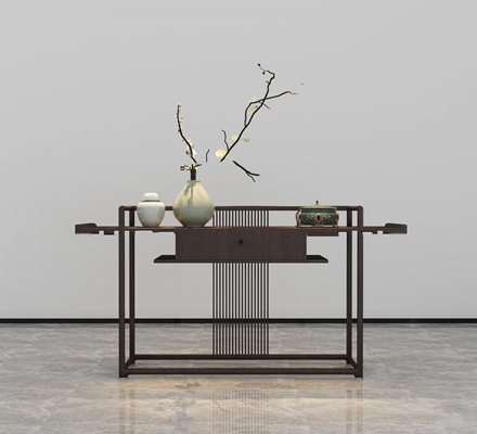 新中式实木端景条案花瓶花卉摆件组合3D模型【ID:97222819】