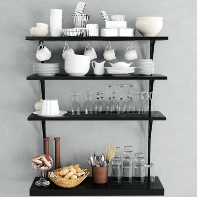 现代餐具玻璃杯面包组合3D模型【ID:97223535】